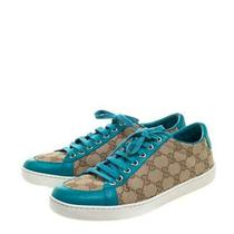 Gucci Beige Guccissima Canvas and Blue Leather Trim Brooklyn Lace Up Sneakers 39 Photo