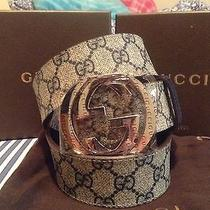 Gucci Belt 100% Authentic Beige/blue 100/40 Brand New W/ Tags and Box Photo