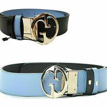 Gucci Belt 450000 Womens Reversible Black Blue Pebbled Leather 780 100 40 Photo