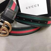Gucci Belt Black Red Green Interlock Gg Buckle Free Shipping Photo
