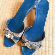 Gucci Belt Motif Mule Sandal Blue &beige  Size  37 1/2 Us 7.5 No Box Photo