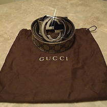 Gucci Belt Navy Blue Print Size 44 100% Authentic Photo