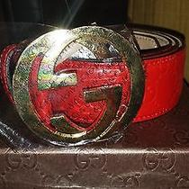 Gucci Belt Red Leather Monogram 100% Authentic Sz 34 Photo
