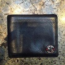 Gucci Billfold Wallet Black/blue 100% Authentic Mens Wallet Photo