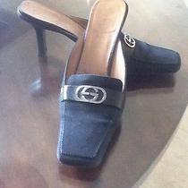 Gucci Black Canvas Gg Silver Logo Mules Sz 6 Photo