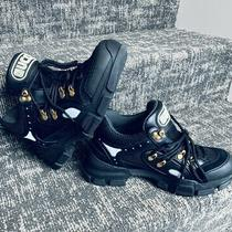 Gucci Black Flashtrek Sneakers Sz 38.5 Beautiful . Photo