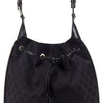 Gucci Black Gg Canvas Bamboo Hobo Handbag Photo