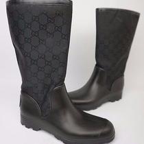 Gucci Black Gg Guccissima Leather Trim Rubber Flat Rain Boots Size 37 / 7 Photo