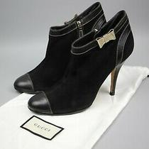 Gucci Black Gg Leather Boots Shoe Size 38.5 Photo