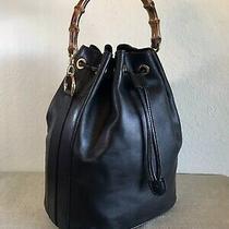 Gucci Black Leather Bamboo Handbag Vintage Gg Satchel Tote Bag Sticky Interior Photo