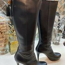Gucci Black Leather Boots With Bamboo Toggle Zipper Sz 7 1/2 Women's Photo