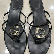 Gucci Black Leather Gg Logo Sandal (Size 41)(Preowned) Photo
