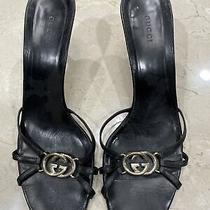 Gucci Black Leather Logo Gg Sandals (Size 10.5)(Preowned) Photo