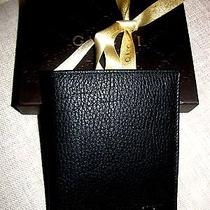 Gucci Black Leather Men's Wallet 10 Credit Card 2 Storage Authentic Gift Box Photo