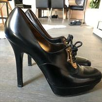 Gucci Black Leather Oxford Gold Eyestay Heel Platform Pump Womens 8.5 Patent  Photo