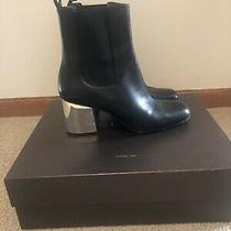Gucci Black Leather Silver Heel Boots Size 39 Photo