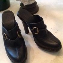 Gucci. Black Leather Wood Clogs. Size 8. Photo