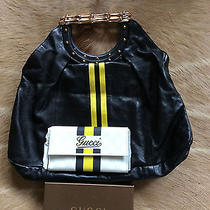 Gucci Black Leather Yellow Stripe Metal Bamboo Handle Tote Bag W/ Gucci Wallet Photo