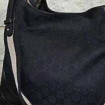 Gucci Black Monogram Handbag Black Bamboo Handle Photo