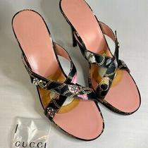Gucci Black Satin Blush Leather Gold Chain Print Mule Heels - Womens Size 9 Photo