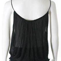 Gucci Black Sheer Pleated Draped Leather Spaghetti Strap Tank Top Cami Sz 38 Photo
