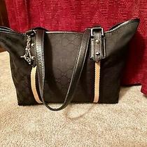 Gucci Black Sherry  Monogram Signature Gg  & Leather Bag Tote Purse W/ Charms Photo