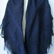 Gucci Blue and Black Woven Cotton 'Gg' Pattern Scarf With Fringes. 52