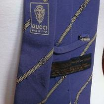 Gucci Blue  Silver  Grey Silk Designer Tie With Belt and Buckle Design  Vintage Photo