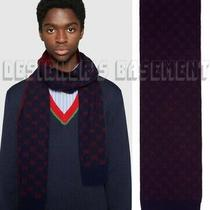 Gucci Blue With Red Interlocking G Alpaca & Wool Knit Scarf Nwt Authentic 390 Photo