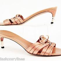 Gucci Blush Nude Satin Corset Top Open Toe Bamboo Heels 7.5 B Made in Italy Photo