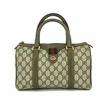 Gucci Brown Gg Supreme Canvas Vintage Stripe Small Boston Satchel Bag  Photo