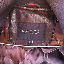 Gucci Brown Leather Bomber Jacket Made in Italy Photo
