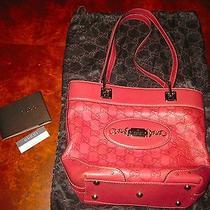 Gucci Brown Leather Embossed Monogram Bag- Gold Hardware Shoulder Tote Handbag Photo