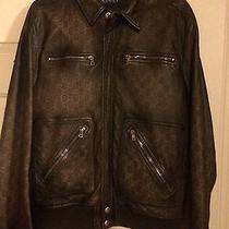 Gucci Brown Leather Guccissima Bomber Jacket Sz 50 Excellent Condition Photo