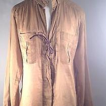 Gucci Brown Long Sleeve Cotton Shirt With Purple Leather Tie Closure Size 44/10 Photo