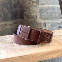 Gucci Brown Slide in Leather Belt - Medium Photo
