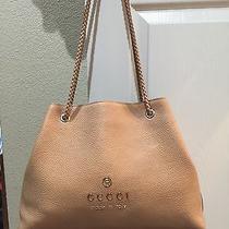 Gucci Calfskin Braided Handle Tote Purse Bag Blush Pink 795 Photo