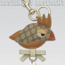 Gucci Camel Leather Beige Gg Canvas Parrot Zoo Collection Key Ring Nib Authentic Photo