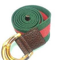 Gucci Canvas Belt With Bamboo Buckle Authentic Photo