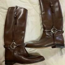 Gucci Charlotte Flat Leather Riding Boots With G Silver Logo Chocolate Brown 41 Photo