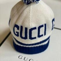 Gucci Childrens Gg Wool Hat Size M (7-9yrs) 54/21.2 Blue & Cream Photo