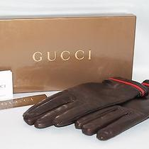 Gucci Chocolate Brown Leather Gloves Size 85 - 100% Authentic Photo