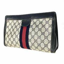 Gucci Clutch Bag Navy Used 11-372 Photo