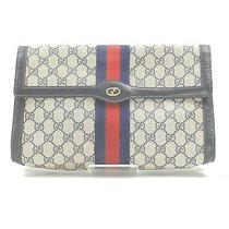 Gucci Clutch Gg Supreme Navy Blue Pvc 915504 Photo