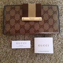Gucci Continental Signature Wallet Patent Leather Gold & Brown Amazing Condition Photo