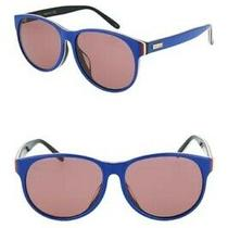 Gucci Core 57mm Round Sunglasses Blue With Red & White Unisex Nwt 360 Photo