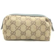 Gucci Cosmetic Pouch Gg Browns Canvas 1214008 Photo