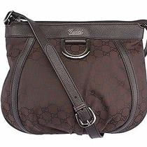 Gucci D Ring Brown Nylon & Leather Crossbody Bag Serial 265691 002058 Dust Bag Photo