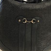 Gucci  Dark Blue  Leather Handbag Large With Single Adjustable Strap Authentic Photo