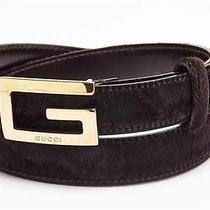 Gucci  Dark Brown Pony Hair Gold Logo Buckle Belt Photo